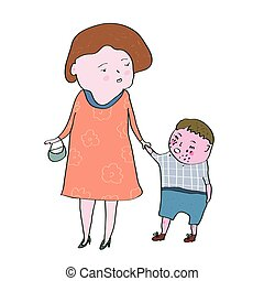 Crying child and mom illustration