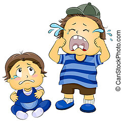 Illustration of a Young Boy Crying as a Teary-eyed Baby Watches Him
