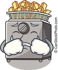 Crying cooking french fries in deep fryer cartoon vector...