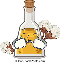Crying cottonseed oil in the cartoon shape vector ...