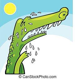 Crying crocodile - Illustration of funny crocodile crying