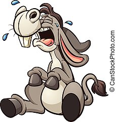 Crying donkey - Crying cartoon donkey. Vector clip art...