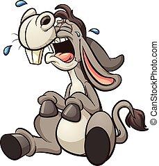 Crying donkey - Crying cartoon donkey. Vector clip art ...