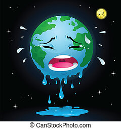 An illustration for global warming theme. Character and background in separated layer. Editable and scalable EPS8 vector file.