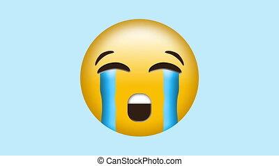 Crying emoji with streaming tears