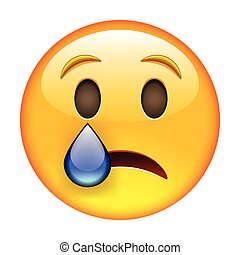 Crying emoticon. Isolated vector illustration on white ...