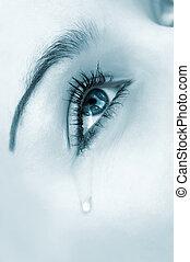 crying woman's eye. tinted monochrome image, high key, selective focus
