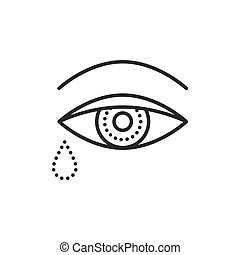 Crying eye with tears. Flat icon. Vector outline...