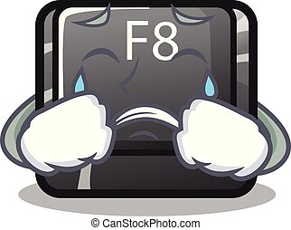 Crying f8 button installed on computer mascot