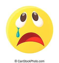 Crying face emoticon with tear icon, cartoon style