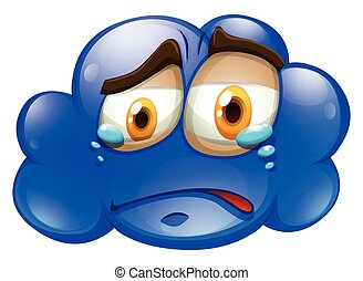 Crying face on blue cloud