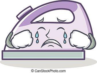 Crying flat iron character vector art