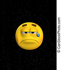 Crying for the earth. Concept image of a sad face crying ...