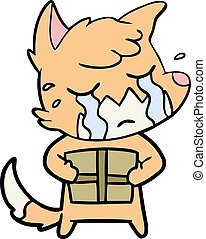 crying fox cartoon with parcel