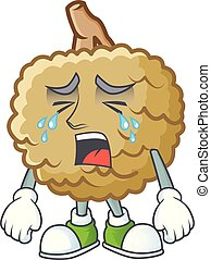 Crying fresh marolo fruit character mascot in cartoon