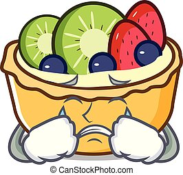 Crying fruit tart mascot cartoon
