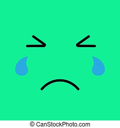 Crying funny emotion emoji face. Sad face on green background.