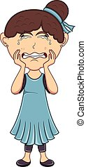 Crying girl cartoon