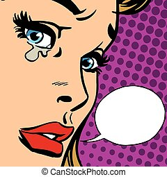 crying girl close-up face vector retro pop art. Crying ...