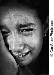 Crying girl, tears on cheeks, low light key, added grain,...