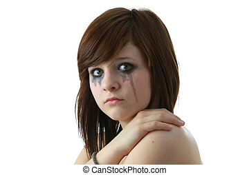 Crying girl with makeup - Crying young girl isolated on...