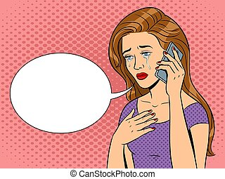 Crying girl with phone pop art vector