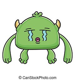 Crying green goblin cartoon monster
