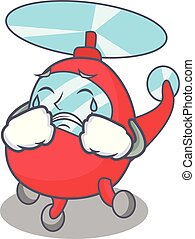 Crying helicopter mascot cartoon style