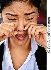 Crying Hispanic Business Woman