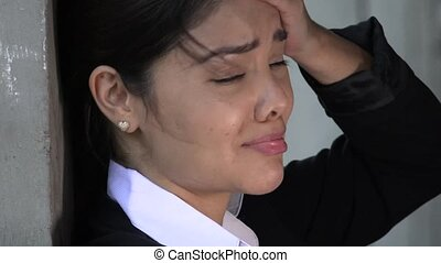 Crying Hispanic Woman