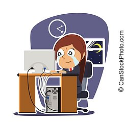 Crying indian businesswoman working illustration design
