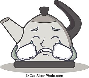 Crying kettle character cartoon style vector illustration