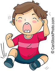Crying Kid - Illustration of a Crying Kid sitting on the...