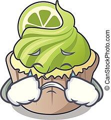 Crying lemon cupcake mascot cartoon