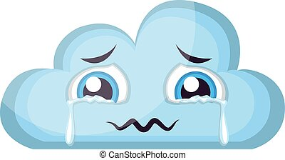 Crying light blue cloud emoji vector illustration on a white background