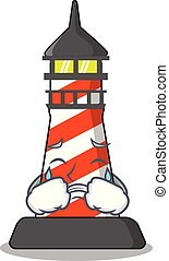 Crying lighthouse on the beach mascot