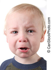Crying Little Baby Boy on White Background