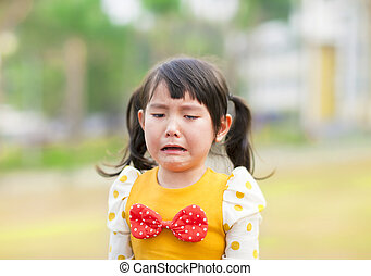 crying little girl in the park