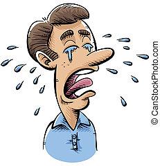A cartoon man cries many tears.