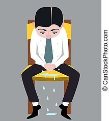 crying man vector cartoon - man sitting on the chair, crying...