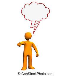 Crying Manikin Speech Bubble - Orange cartoon character with...