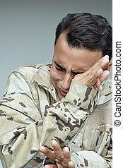 Crying Military Male Soldier