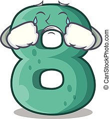 Crying number eight made with cartoon shaped