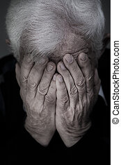 Crying old man - Portrait of old man with white hair crying
