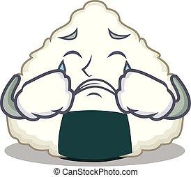 Crying Onigiri mascot cartoon style