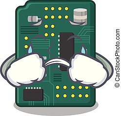 Crying PCB circuit board in PC characters vector ilustration