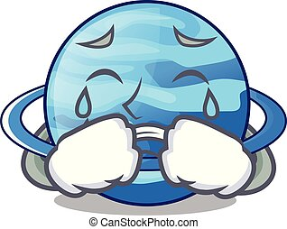 Crying planet uranus in the cartoon form vector illustration
