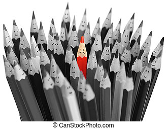 Crying red pencil among crowd of happy pencils