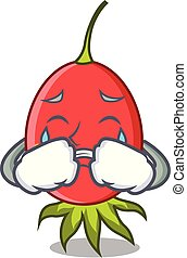 Crying rosehip mascot cartoon style vector illustration