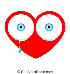 Crying red heart cartoon emoji face character with sad expression